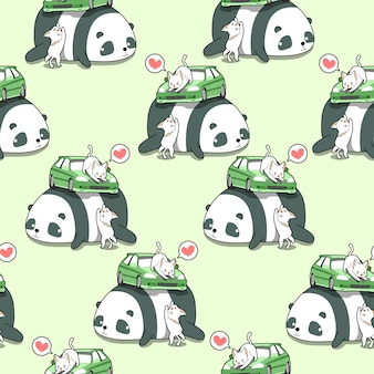 Seamless kawaii cats with car on giant panda pattern.