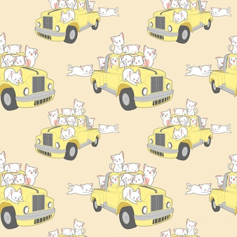 Seamless kawaii cats with car in summer holiday pattern.