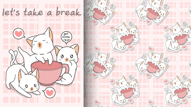 Seamless kawaii cats with a pink cup pattern