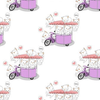Seamless kawaii cats with the portable stall motorcycle pattern