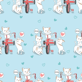 Seamless kawaii cats with tricycle pattern.