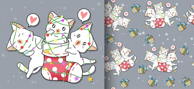 Seamless kawaii happy cat is in a sock and friends pattern