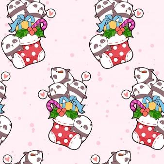 Seamless kawaii happy pandas is in a sock pattern