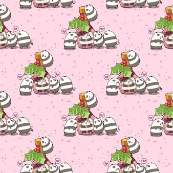 Seamless kawaii panda in the bottle and friends pattern