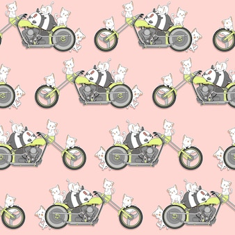 Seamless kawaii panda and cats and motorcycle pattern.