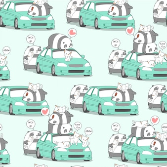 Seamless kawaii panda and cats with car in holiday pattern.