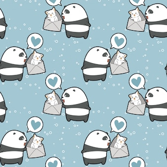 Seamless kawaii panda is holding cat in the envelope pattern
