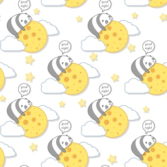 Seamless kawaii panda is hugging the moon pattern.