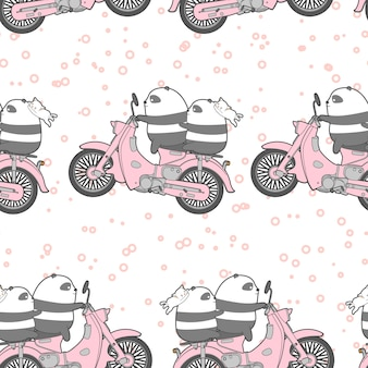 Seamless kawaii panda is riding motorcycle pattern.