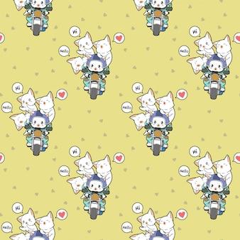 Seamless kawaii rider cat and friends pattern