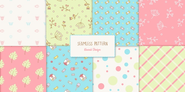 Seamless kawaii style transparent pattern