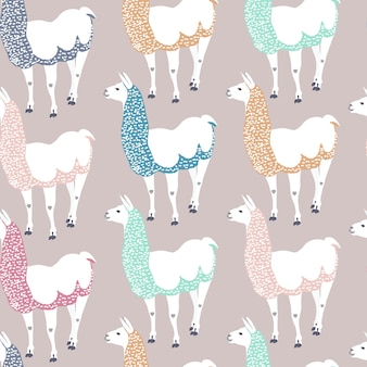 Seamless kids pattern with funny llama. cute alpaca cartoon character for decoration nursery, design kids clothing, fabric, wrapping, textile, wallpaper.