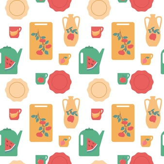 Seamless kitchen dishes pattern isolated vector illustration