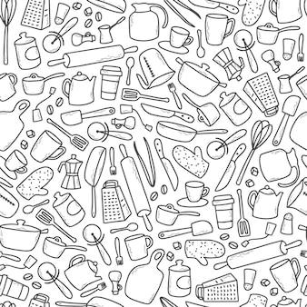 Бесшовный кухонный образец с рисованной каракулями
