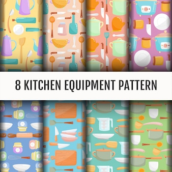 Seamless kitchen tools pattern set.