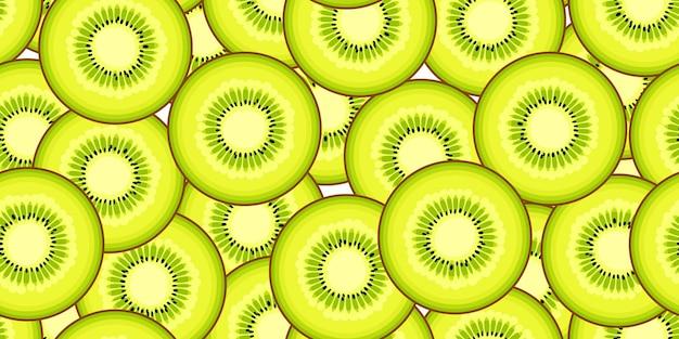 원활한 키 위 벡터 패턴입니다. 최소한의 음식 배경입니다. 비타민 반복 가능한 질감