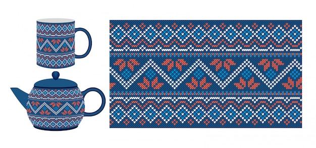 Seamless knit pattern. xmas texture.