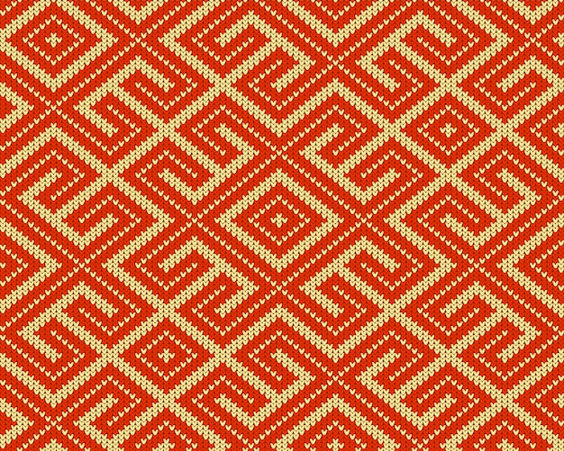 Seamless knitted old russian national woolen pattern