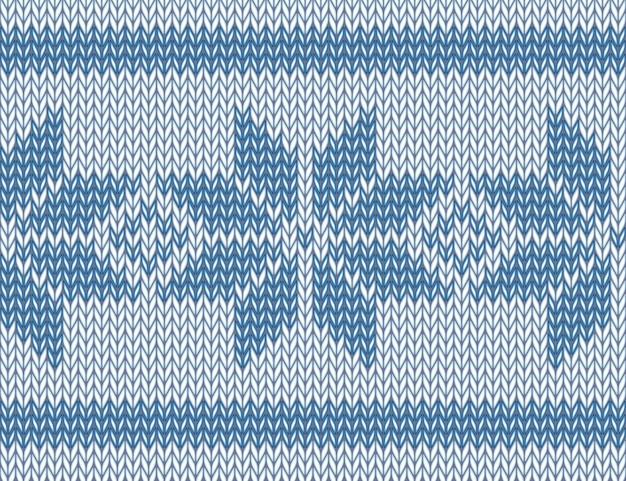 Seamless knitted pattern with blue snowflakes.  illustration