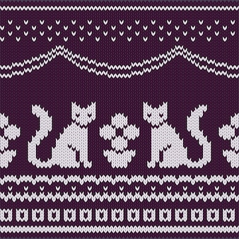 Seamless knitted pattern with sitting cats and potted plant.