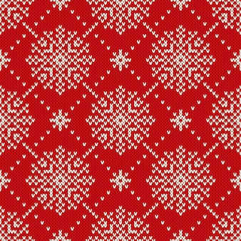 雪片とのシームレスなニットパターン