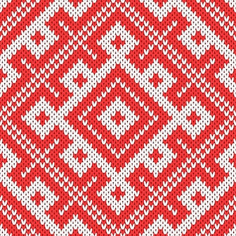 Seamless knitting pattern.based on traditional russian ornament.