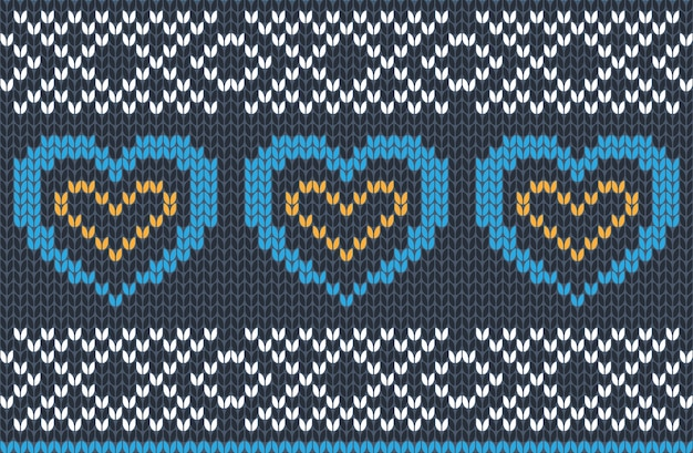 Seamless knitting pattern in blue, yellow and white colors. autumn, christmas and winter holiday sweater design with hearts.