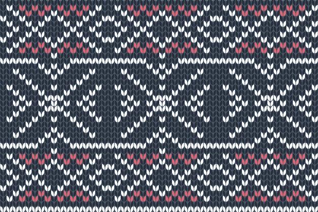 Seamless knitting pattern in navy blue, red and white colors. autumn, christmas and winter holiday sweater design.