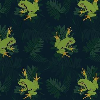 Бесшовные листья и образец лягушки