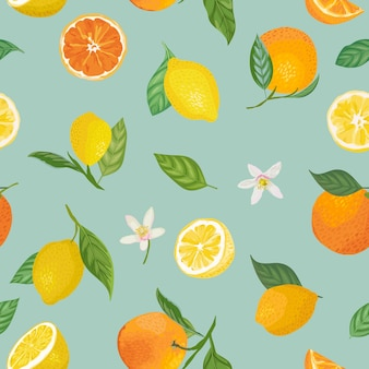 Бесшовный образец лимона и апельсина с тропическими фруктами, листьями, цветами фона. ручной обращается векторные иллюстрации в стиле акварели для летних романтических обложек, тропических обоев, старинных текстур