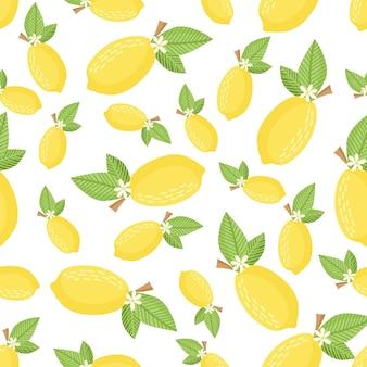 シームレスレモンパターン。布、壁紙、紙に印刷するための明るい背景。ベクター