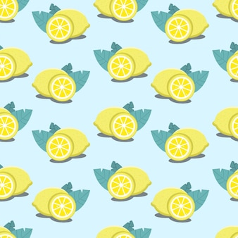 Seamless lemon pattern - citrus illustration with leaves repeating on  blue background.