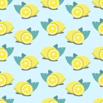 シームレスなレモンパターン-青い背景に繰り返しの葉を持つ柑橘類のイラスト。