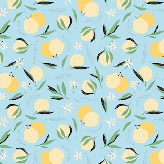 シームレスなレモンパターン。青色の背景にトレンディなイエローレモン。グリーティングカード、壁紙、包装紙のデザインのモダンな手描きイラスト。ジューシーな夏のフルーツの背景。