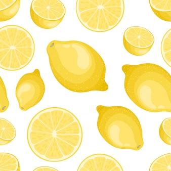 Seamless lemon pattern on white background