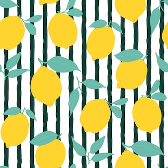 Seamless lemon pattern with stripes