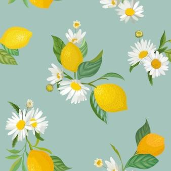 Бесшовный образец лимона с тропическими фруктами, листьями, фоном цветов ромашки. ручной обращается векторные иллюстрации в стиле акварели для летних романтических обложек, тропических обоев, старинных текстур