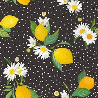 Seamless lemon pattern with tropic fruits, leaves, daisy flowers background. hand drawn vector illustration in watercolor style for summer romantic cover, tropical wallpaper, vintage texture