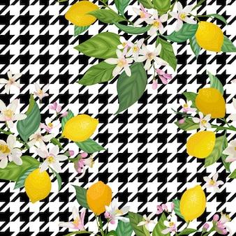 Бесшовный образец лимона с тропическими фруктами, листьями, цветами фона. ручной обращается векторные иллюстрации в стиле акварели для летних романтических обложек, тропических обоев, старинных текстур