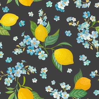 열대 과일, 잎이 있는 매끄러운 레몬 패턴은 꽃 배경을 잊지 마세요. 여름 낭만적인 표지, 열대 벽지, 빈티지 질감을 위한 수채화 스타일의 손으로 그린 벡터 그림