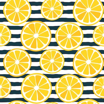 Seamless lemon slices pattern with dark stripes