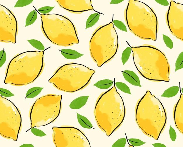 Seamless lemon with leaf pattern background.