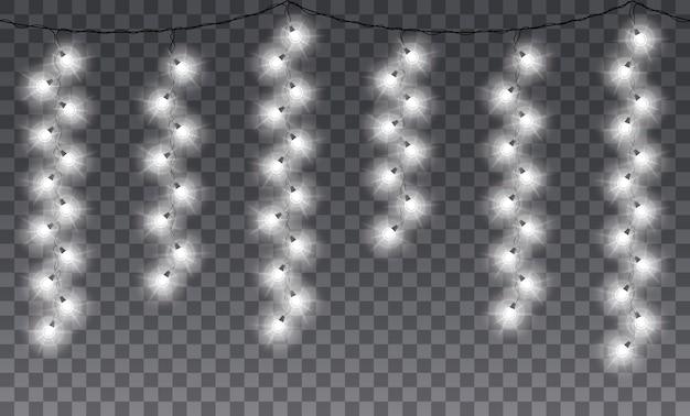 シームレスなライトガーランド。冬休みの白い電球の垂直照明。