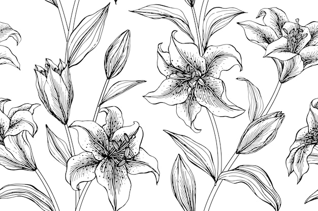 Seamless lily flower pattern background.