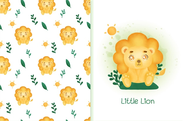 Seamless lion pattern with greeting card in water color style.