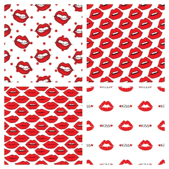白い背景の上のシームレスな唇とキスのパターン