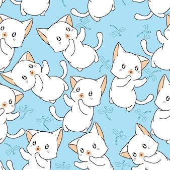 Безшовная маленькая картина кота и стрекозы.