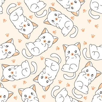 Seamless little cat pattern.