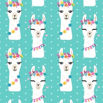 Seamless llama head pattern