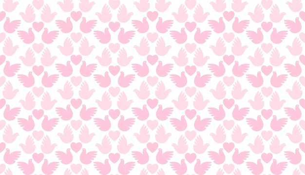 Seamless love pattern of hearts and pigeons, simple
